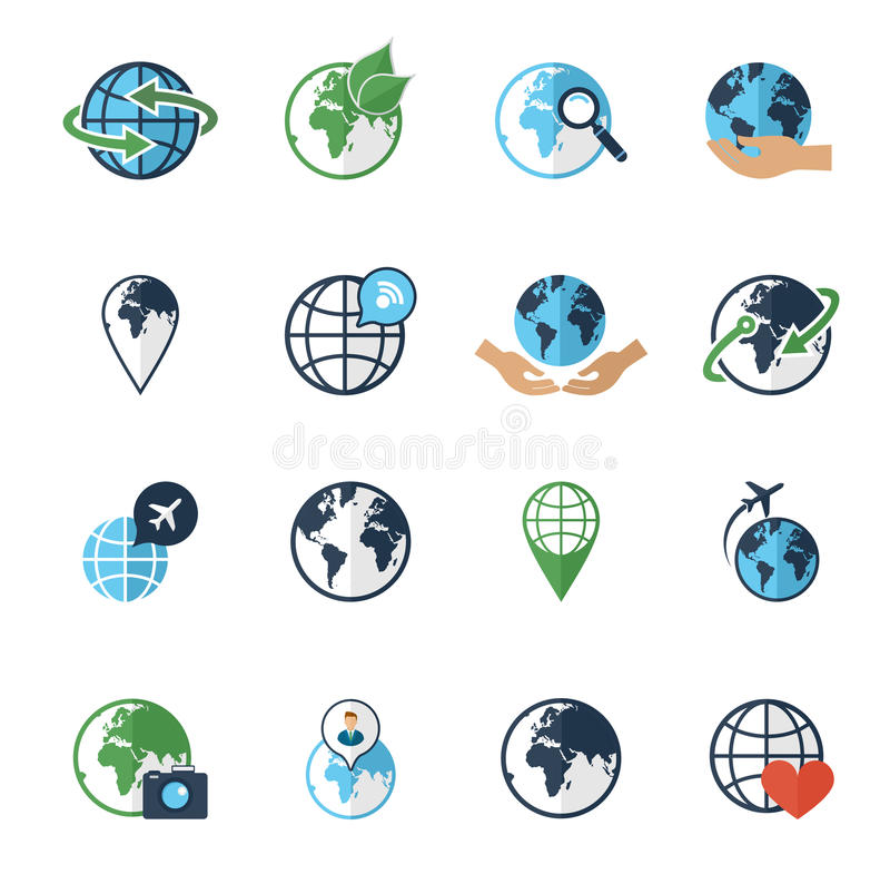 Plano fijado iconos de la tierra del globo stock de ilustración