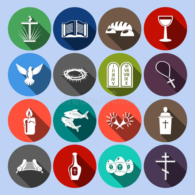 Plano fijado iconos del cristianismo stock de ilustración