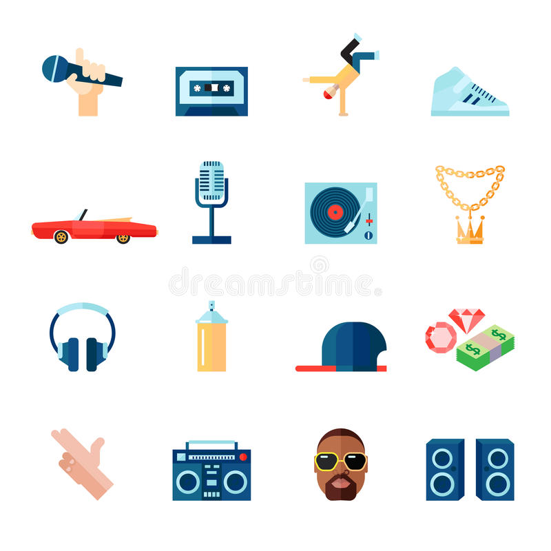 Plano fijado iconos del música rap libre illustration