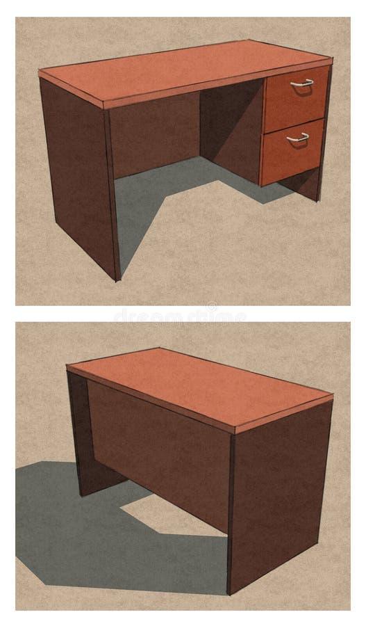 Plano Front Back Perspective da tabela do escritório fotografia de stock