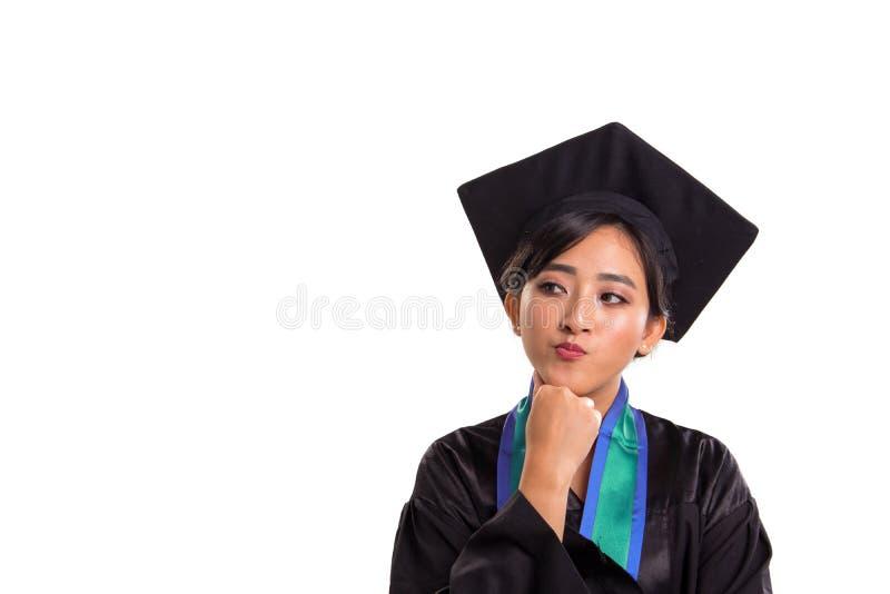 Plano futuro de estudante fêmea graduado fotos de stock