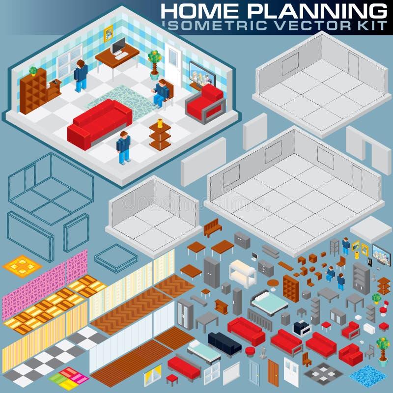 Plano home isométrico jogo da criação do vetor 3D ilustração stock