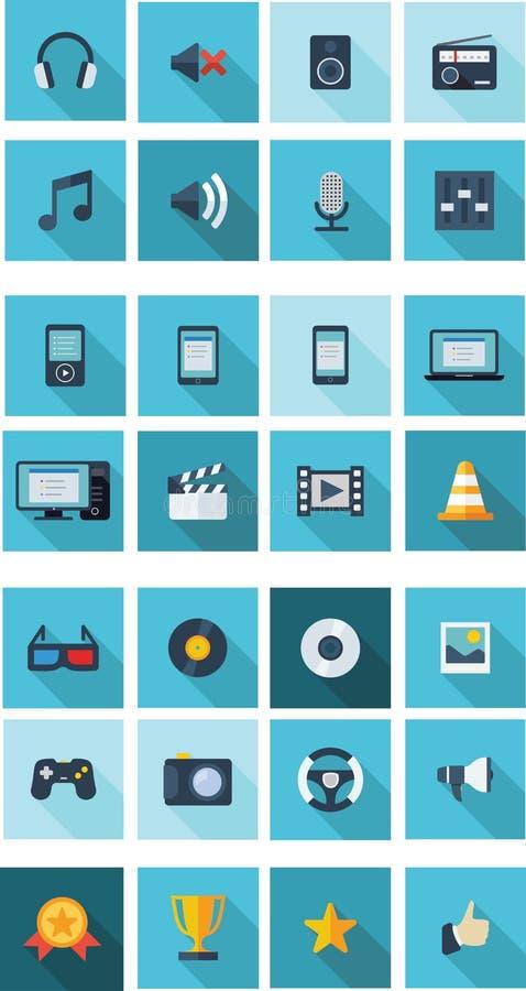 Plano - iconos de las multimedias para el smartphone fotos de archivo libres de regalías