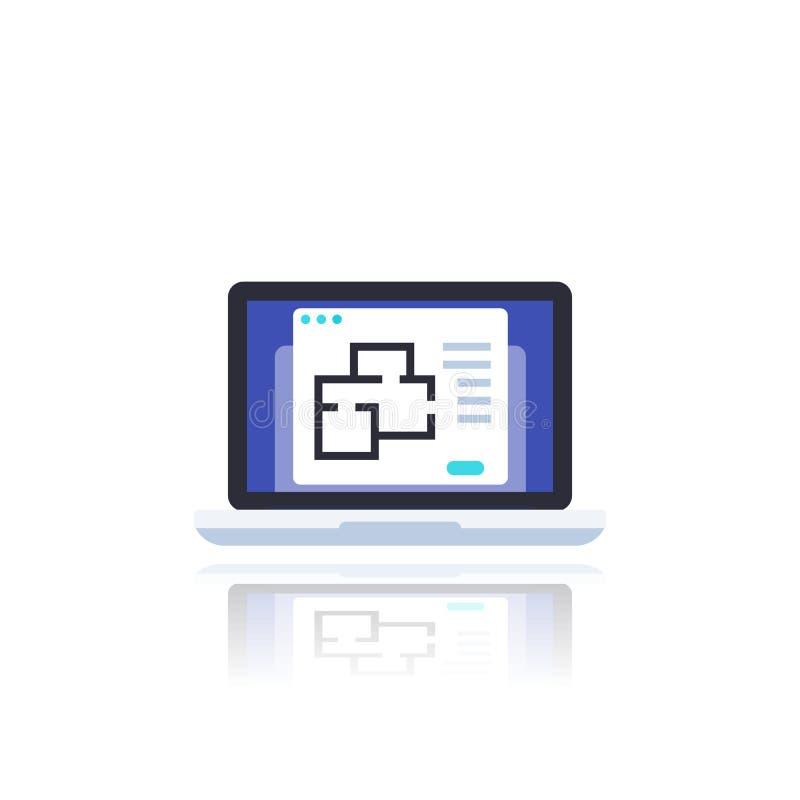 Plano inicial en pantalla de portátil, vector ilustración del vector
