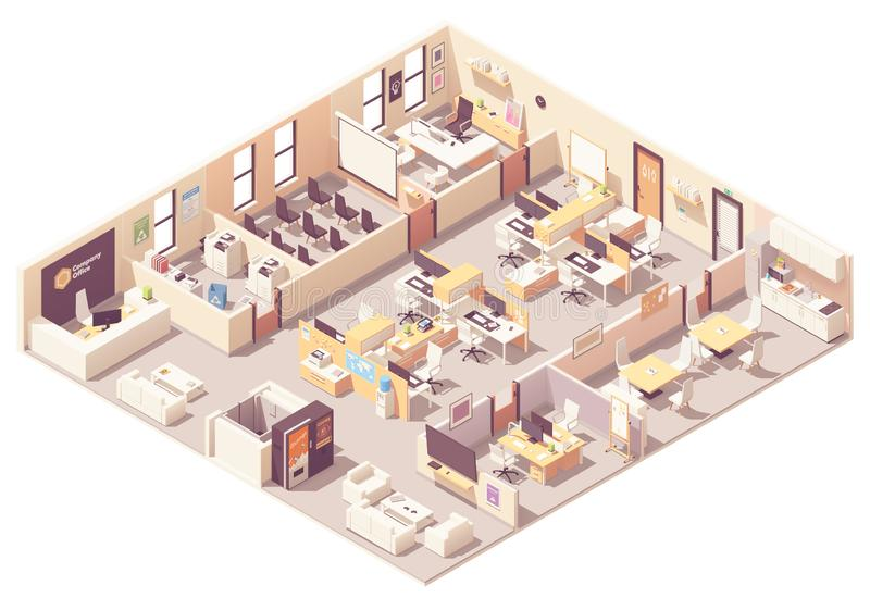 Plano interior do escritório isométrico do vetor ilustração royalty free