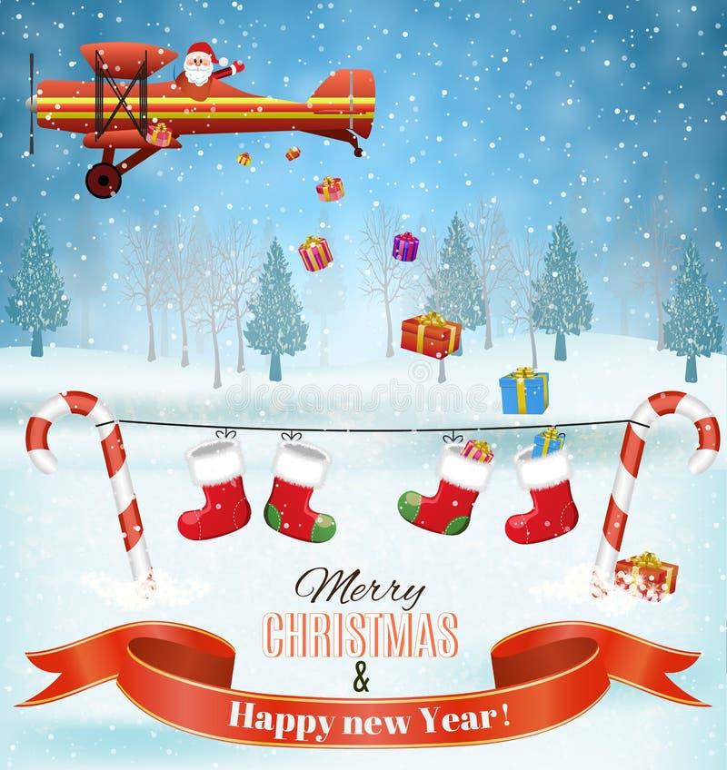 Plano leve com mosca de Papai Noel ilustração stock
