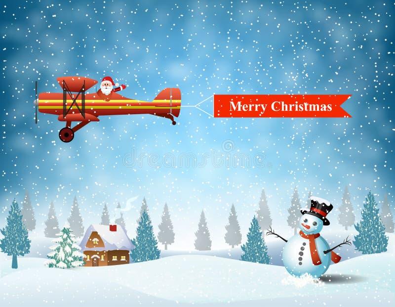 Plano leve com Papai Noel ilustração do vetor