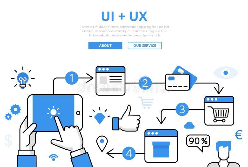 Plano linear plantilla del infographics de UI + de UX ilustración del vector