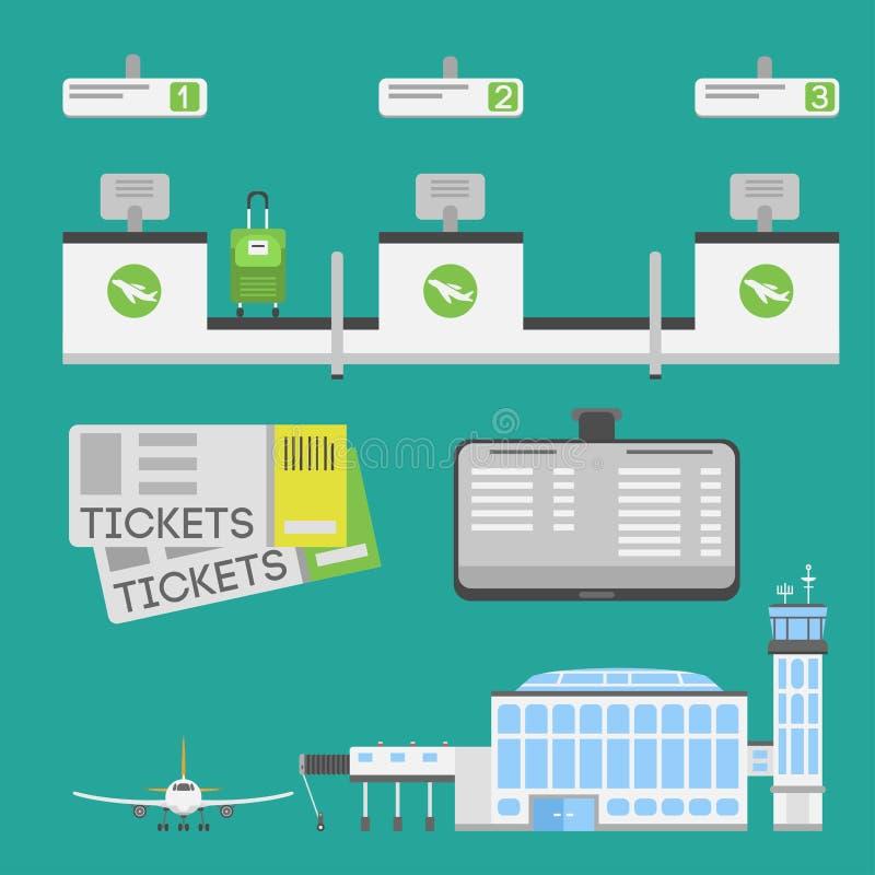 Plano liso da bagagem da partida dos símbolos do porto do ar do conceito da estação da ilustração do projeto dos símbolos planos  ilustração stock