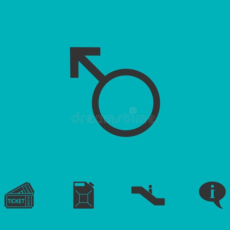 Plano masculino del icono ilustración del vector