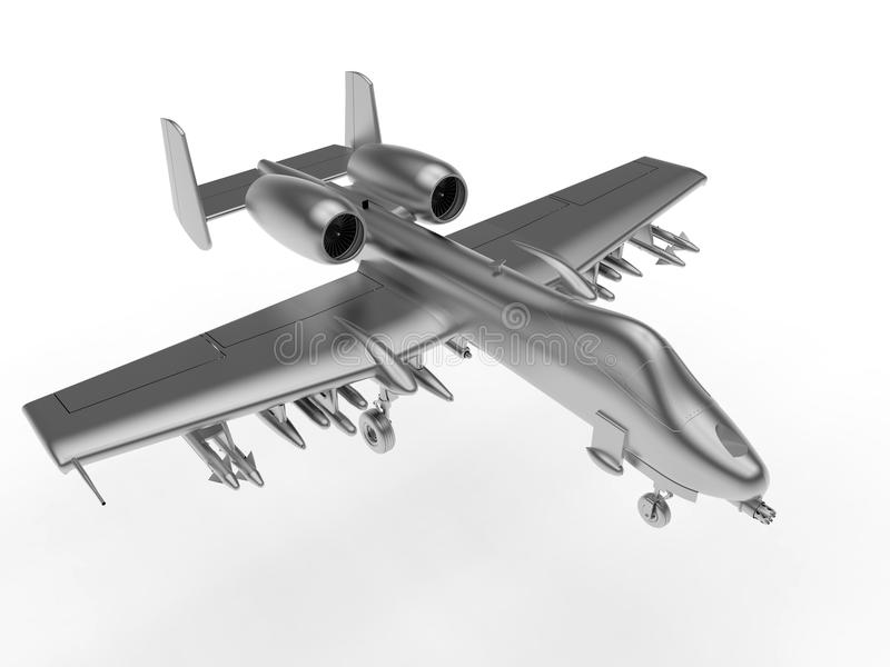 Plano metálico do bombardeiro no ar ilustração do vetor