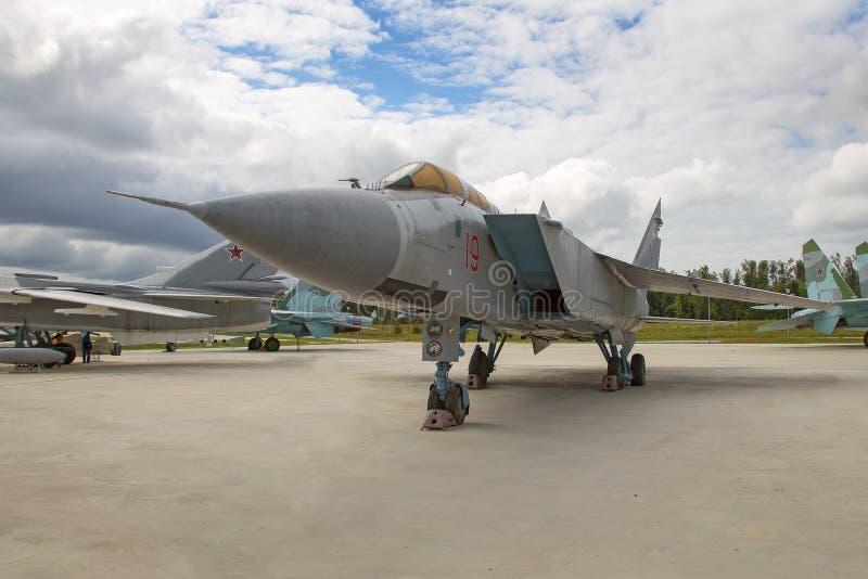 Plano Mikoyan MiG-31 do interceptor do jato foto de stock