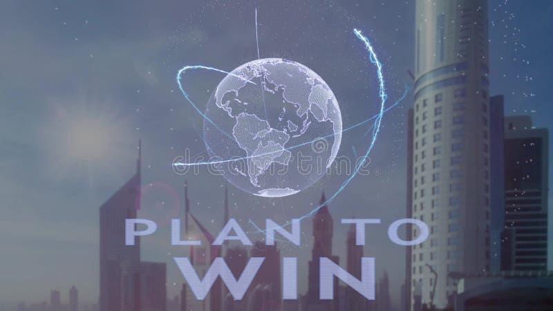 Plano para ganhar o texto com holograma 3d da terra do planeta contra o contexto da metr?pole moderna fotos de stock royalty free