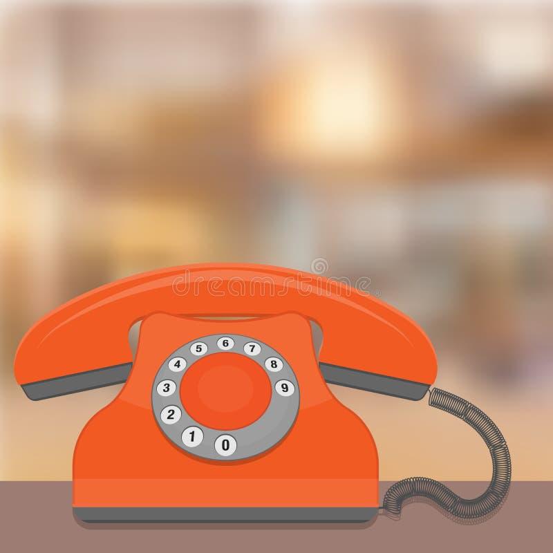 Plano retro do telefone - vetor velho do telefone ilustração stock