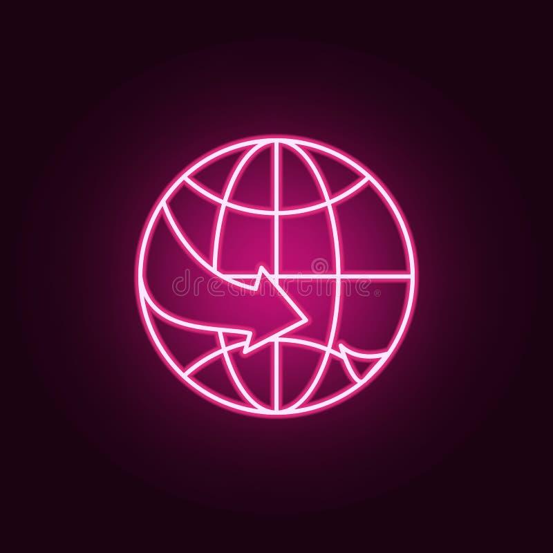 Plano sobre o ícone do mundo Ícone de néon do curso Elementos do grupo do turizm ?cone simples para Web site, design web, app m?v ilustração stock