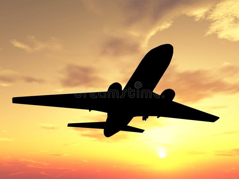 Plano sobre puesta del sol stock de ilustración