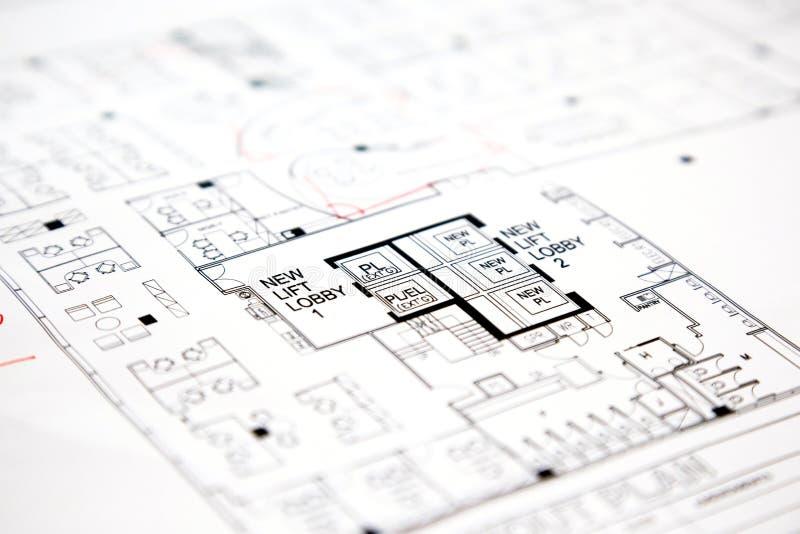 Plano técnico arquitetónico do desenho do projeto fotografia de stock royalty free