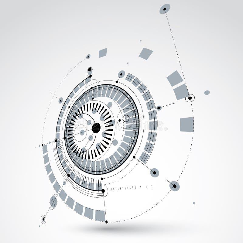 Plano técnico, esboço abstrato preto e branco da engenharia para u ilustração do vetor
