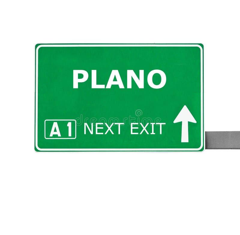 PLANO-verkeersteken op wit worden geïsoleerd dat royalty-vrije stock afbeelding