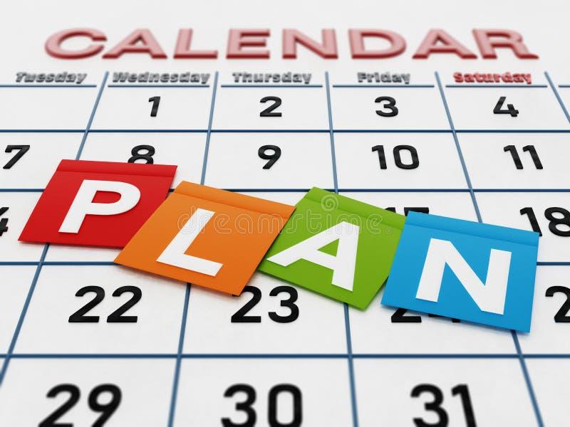 Planord på kulör anmärkningslegitimationshandlingar som står på kalendersidan illustration 3d royaltyfri illustrationer
