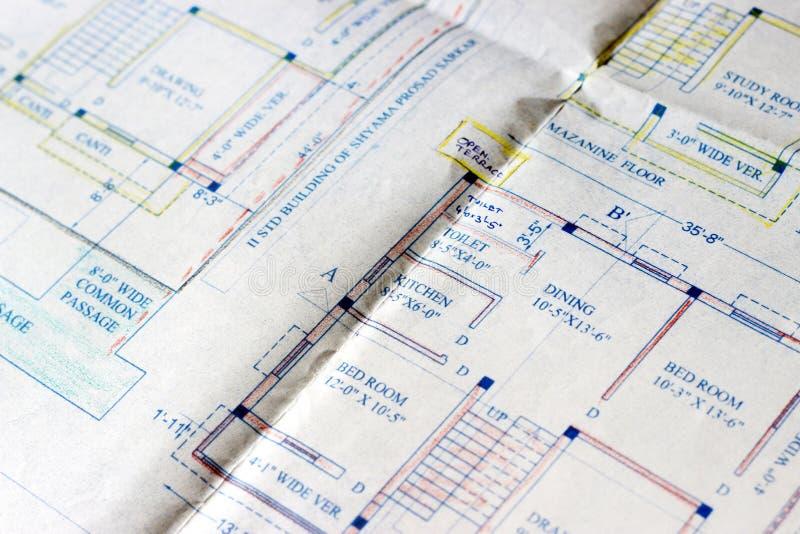 Planos da construção foto de stock