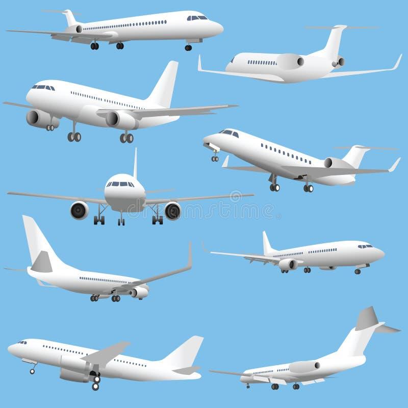 Planos de avião de passagem ilustração royalty free