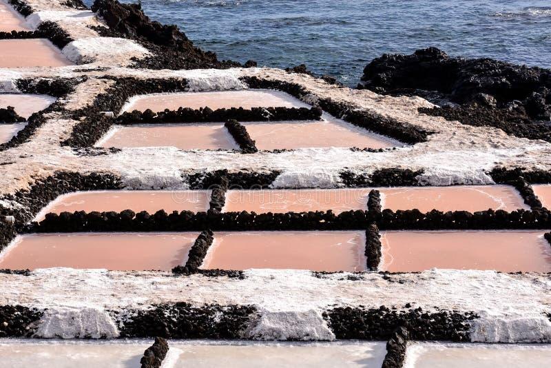 Planos de la sal en las islas de Canry foto de archivo