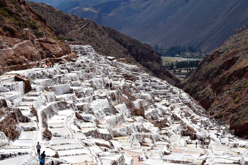 Planos de la sal en Maras, Perú foto de archivo libre de regalías