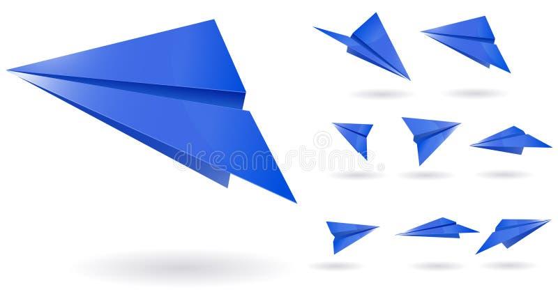 Planos del papel azul ilustración del vector