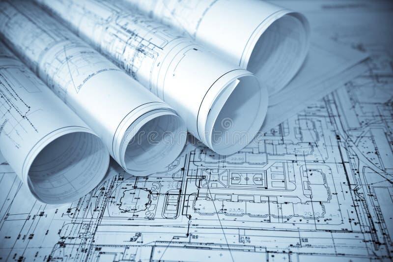 Planos do azul da arquitetura. imagens de stock