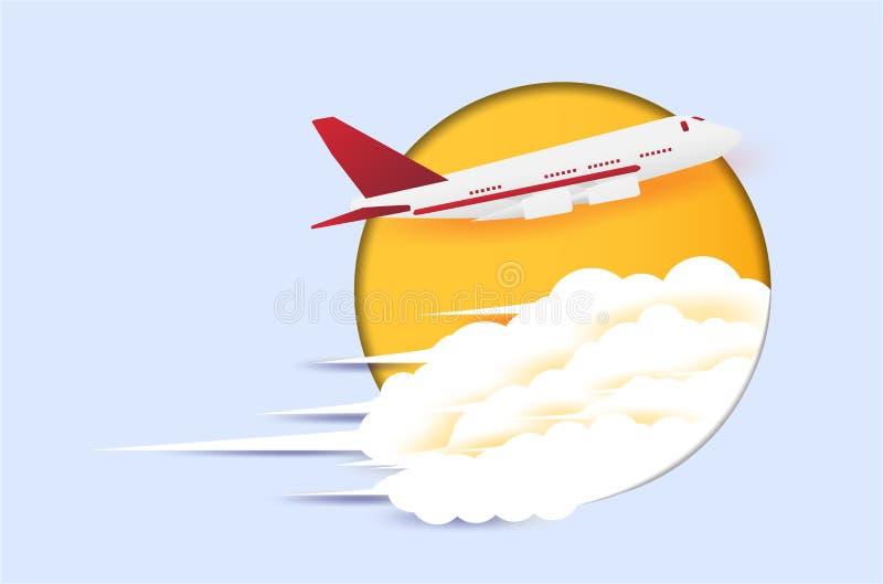 Planos do conceito do curso que estão voando para viajar fundo azul dos destinos com as nuvens sob a forma da arte do papel fotografia de stock