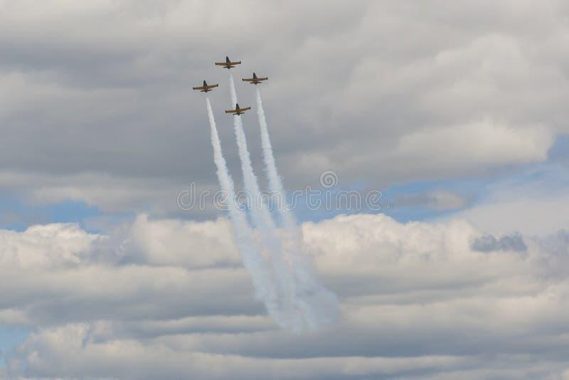 Planos do conluio acrobático do ALCA L-159 Aero no ar durante o evento desportivo da aviação dedicado ao 80th aniversário de DOSA fotos de stock royalty free