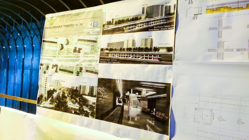 Planos e detalhes da estação de metro futura de Drumul Taberei 34 fotografia de stock