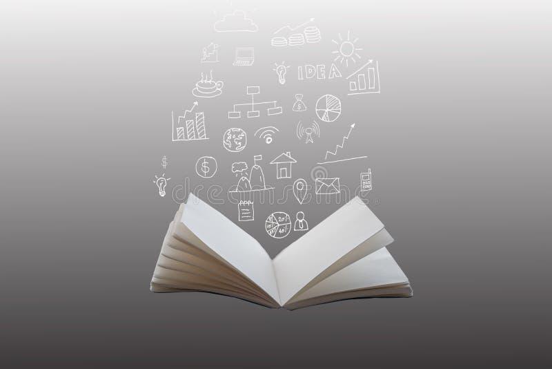 Planos financeiros desenhados à mão e cartas que saem de um livro aberto imagens de stock royalty free