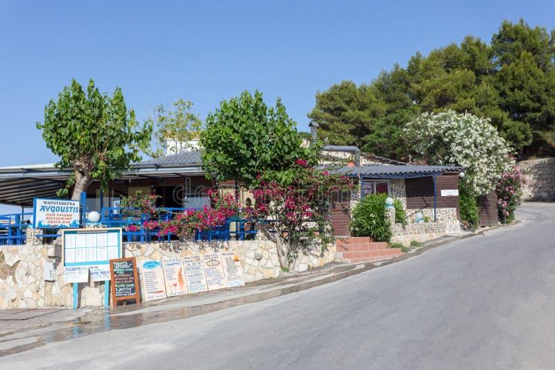 PLANOS GREECE 29 JUNE 2017. Traditional Greek tavern on Zakynthos, Greece. PLANOS, GREECE 29 JUNE 2017. Traditional Greek tavern on Zakynthos, Greece stock photography