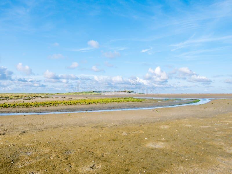 Planos maré da areia, córrego e pântano de sal da reserva natural Boschp fotografia de stock royalty free