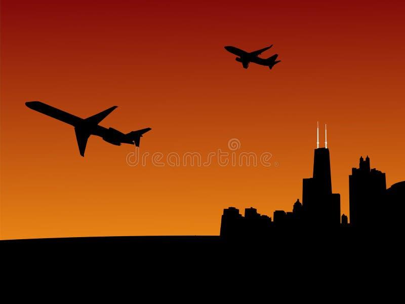 Planos que saem de Chicago ilustração do vetor