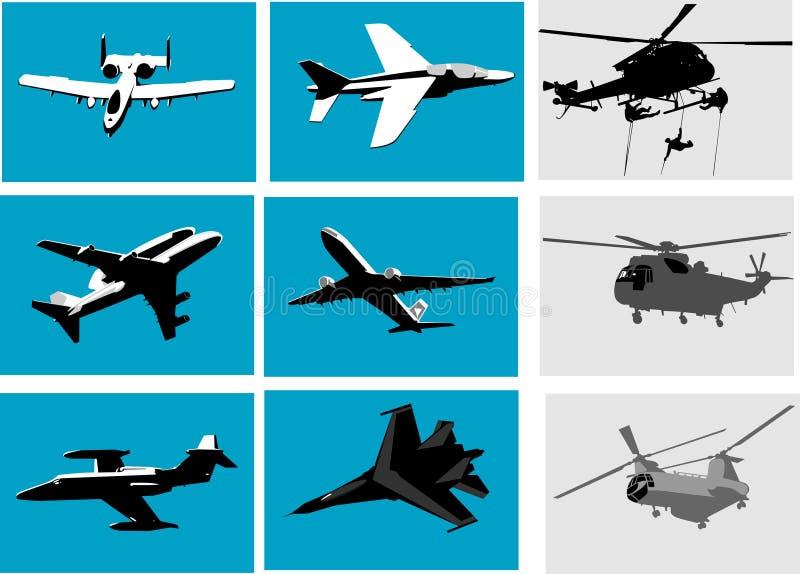 Planos y helicóptero ilustración del vector