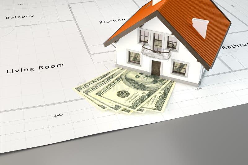 Planować budować dom z pieniądze royalty ilustracja
