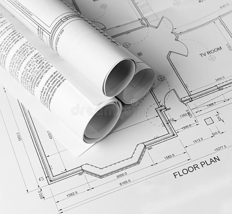 Plans. Architectural plans on the table royalty free stock images