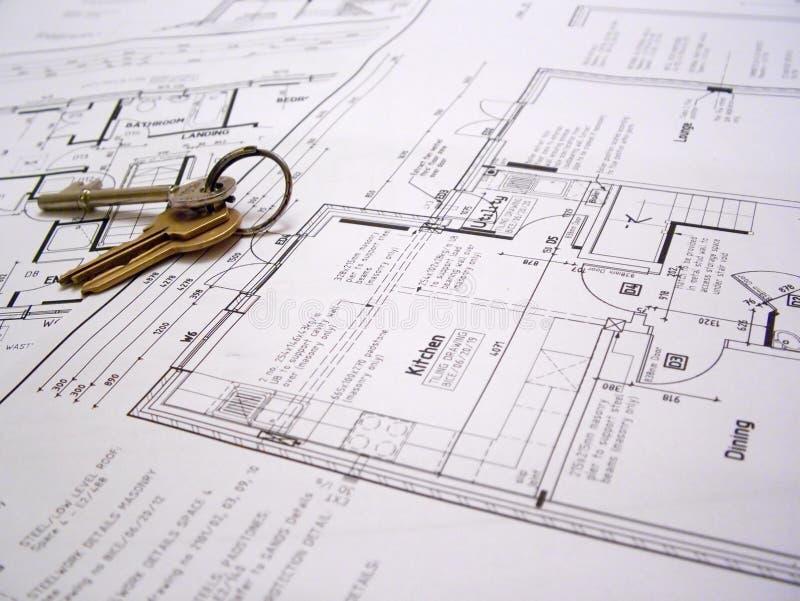 Plans architecturaux avec des clés photo stock