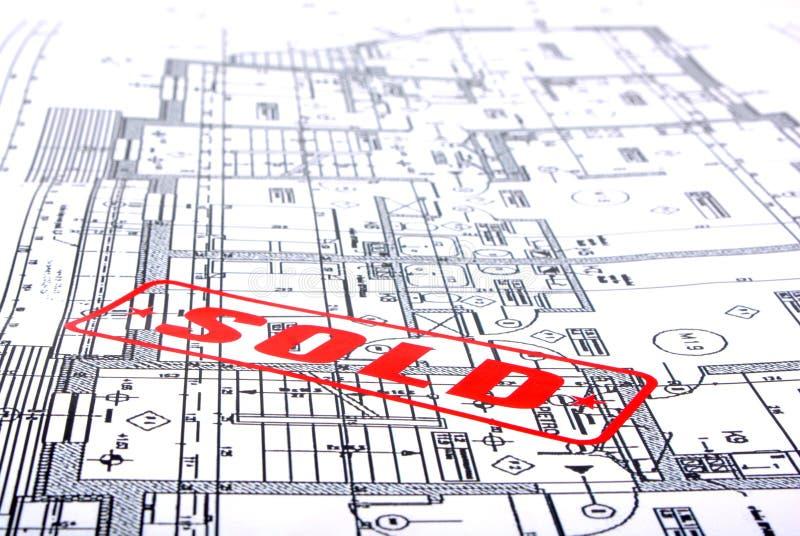 Plans architecturaux avec l'estampille photos libres de droits