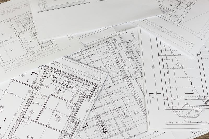 Plans of building. Architectural project. Floor plan designed building on the drawing. Engineering and technical drawing, part of royalty free stock photo