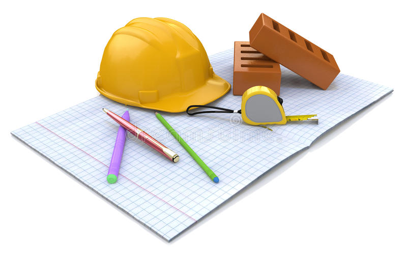 Plans for construction stock illustration