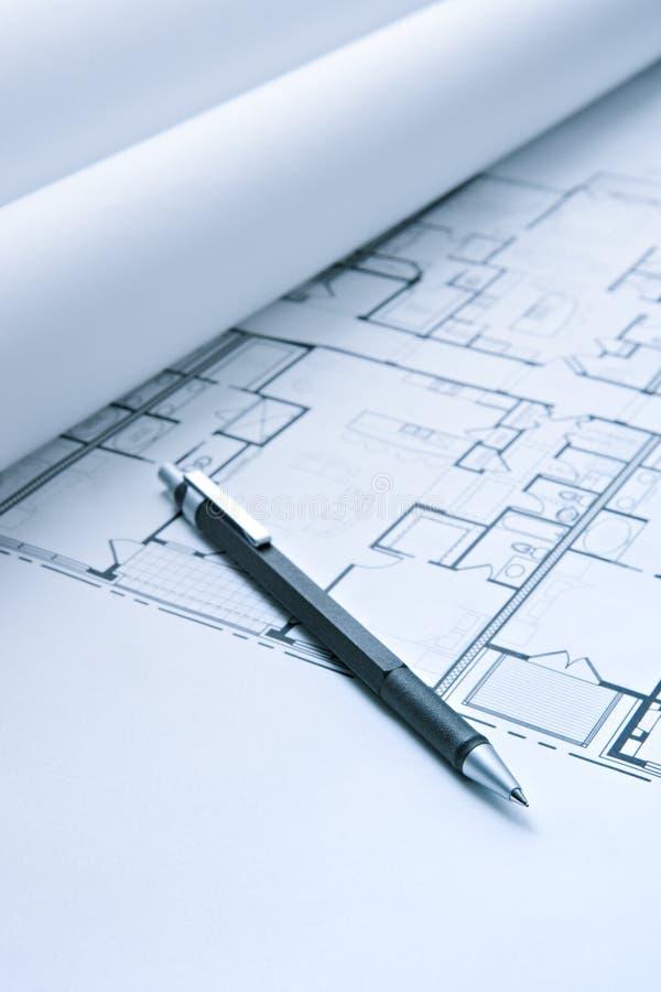 Plans d'étage de croquis de mise au point avec le crayon mécanique photo stock