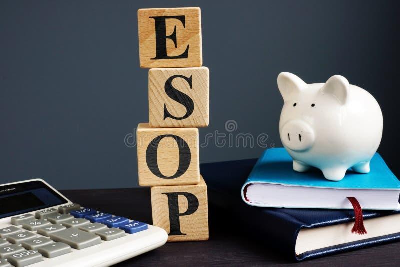 Plans d'actionnariat des employés d'ESOP Cubes avec des lettres image stock