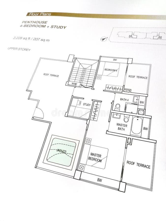 plans d'appartement terrasse d'étage photo stock