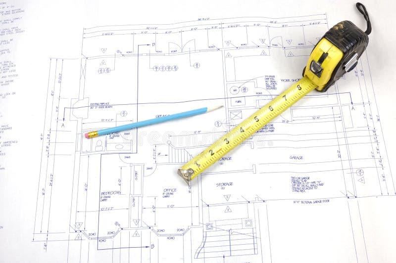 Plans de construction et mesure de bande images stock