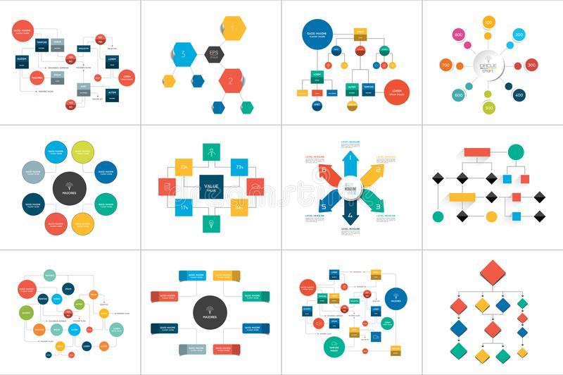 Plans de Fowcharts, diagrammes Méga réglé Simplement couleur editable illustration stock