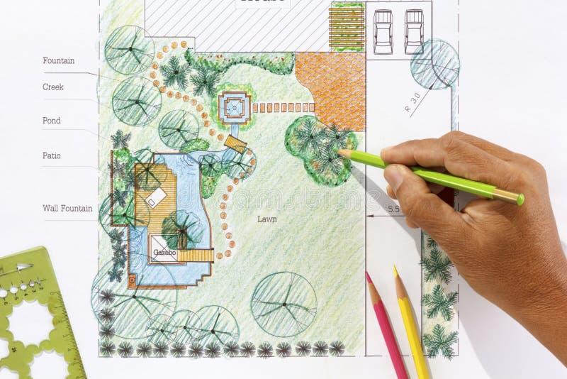 Plans de jardin de l'eau de conception d'architecte paysagiste image stock